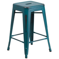 """Flash Furniture Distressed Kelly Blue-Teal Metal Indoor-Outdoor Counter Height Stool 24""""H - ET-BT3503-24-KB-GG"""