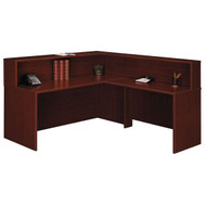BBF Bush Series C Reception Desk L-Shaped, No Pedestals Mahogany - MAHPackageF