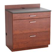 Safco Hospitality Base Cabinet, Three Drawer, Mahogany/Rustic Slate - 1703MH