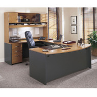 BBF Bush Series C Package Executive U-Shaped Bowfront Desk Package Natural Cherry - NCPackageF