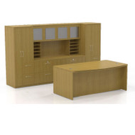 * MONTHLY SPECIAL! Mayline Aberdeen Executive Desk Package Maple - AT9-LMA