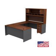 BBF Bush Series C Package U-Shaped Desk with Hutch and 3-Drawer Pedestal Hansen Cherry - SRC004HCSU
