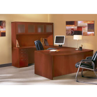 """* MONTHLY SPECIAL! Mayline Aberdeen Executive U-Shaped Desk 72"""" w/Glass Door Hutch Package Cherry - AT5-LCR"""