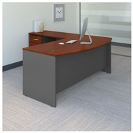 "BBF Bush Series C Package L-Shaped Bowfront Desk with Return and Mobile Pedestal Hansen Cherry 72""W - SRC084HCSU"