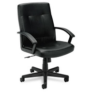 Basyx Black Leather Managerial Mid-Back Chair - VL602SB11