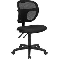 Flash Furniture Mid Back Mesh Task Chair with Black Fabric Seat - WL-A7671SYG-BK-GG