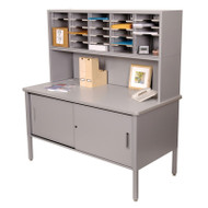 """Marvel 25 Adjustable Slot Literature Organizer with Riser and Cabinet Slate Gray 60""""W x 30""""D x 60-68""""H - UTIL0025"""