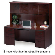 """* MONTHLY SPECIAL! Mayline Corsica Veneer Executive Credenza and Wood Doors Hutch 72"""" Mahogany - CT15"""