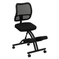 Flash Furniture Black Ergonomic Kneeling Office Chair with Black Mesh Back - WL-3520-GG