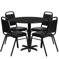 Flash Furniture 36'' Round Laminate Black Table Set with 4 Banquet Chairs - HDBF1001-GG