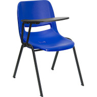 Flash Furniture Blue Plastic Shell-Chair with Right Tablet - RUT-EO1-BL-RTAB-GG