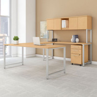 """BBF Bush 400 Series U-Shaped Table Desk 72"""" x 30"""" w Hutch and 3 Drawer Mobile Pedestal, Natural Maple - 400S160AC"""