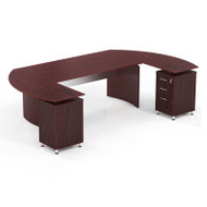 """* MONTHLY SPECIAL! Mayline Medina Executive 63"""" with 2  Returns and Center Drawer Mahogany - MNT3-LMH"""