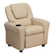 Flash Furniture Kid's Recliner with Cup Holder Beige - DG-ULT-KID-BGE-GG