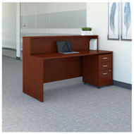 "BBF Bush Series C Reception Desk with 3-Drawer Mobile Pedestal Mahogany 72""W x 30""D - SRC096MASU"