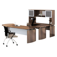 """* MONTHLY SPECIAL! Mayline Medina Laminate Executive 63"""" Desk U-Shaped Package Left Textured Brown Sugar Finish - MNT30TBS"""