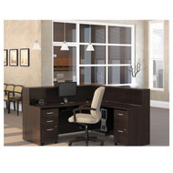 BBF Bush Series C Package L-Shaped Reception Desk Mocha Cherry - MOC1