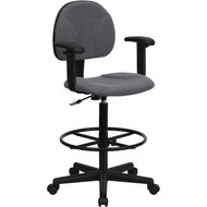 Flash Furniture Fabric Ergonomic Drafting Stool with Arms Gray - BT-659-GRY-ARMS-GG
