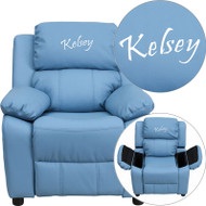 Flash Furniture Kid's Recliner with Storage Dreamweaver Embroiderable Light Blue Vinyl - BT-7985-KID-LTBLUE-EMB-GG