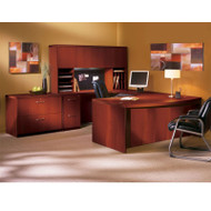 """* MONTHLY SPECIAL! Mayline Aberdeen Executive U-Shaped Desk 72"""" w/Wood Door Hutch Package Cherry - AT10-LCR"""