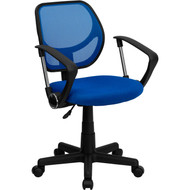 Flash Furniture Mid-Back Blue Mesh Task Chair and Computer Chair with Arms - WA-3074-BL-A-GG