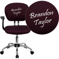 Flash Furniture Mid-Back Burgundy Mesh Task Chair with Arms and Chrome Base and Includes Embroidery - H-2376-F-BY-ARMS-EMB-GG
