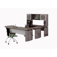 "Mayline Medina Laminate Executive 72"" Desk U-Shaped Package Left Gray Steel - MNT32-LGS"