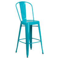 "Flash Furniture Crystal Teal-Blue Metal Indoor-Outdoor Bar Height Chair 30""H - ET-3534-30-CB-GG"