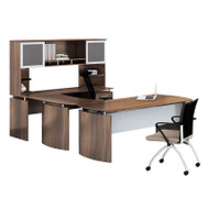 """* MONTHLY SPECIAL! Mayline Medina Laminate Executive 63"""" Desk U-Shaped Package Right Textured Brown Sugar Finish - MNT34TBS"""
