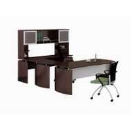 "* MONTHLY SPECIAL! Mayline Medina Laminate Executive 63"" Desk U-Shaped Package Right Mocha - MNT34-LDC"