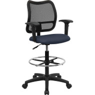 Flash Furniture Mid-Back Mesh Drafting Stool with Navy Blue Fabric Seat and Arms - WL-A277-NVY-AD-GG