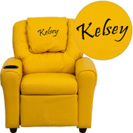 Flash Furniture Kid's Recliner with Cup Holder Yellow- Vinyl Dreamweaver Embroiderable - DG-ULT-KID-YEL-EMB-GG