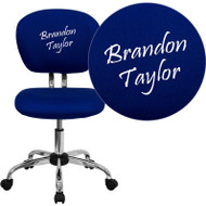 Flash Furniture Mid-Back Blue Mesh Task Chair with Chrome Base and Includes Embroidery -H-2376-F-BLUE-EMB-GG