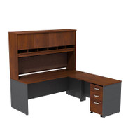 "BBF Bush Series C Package L-Shaped Desk with Hutch and Mobile File Cabinet in Hansen Cherry 72"" - SRC0018HCSU"
