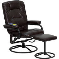 Flash Furniture Massaging Brown Leather Recliner and Ottoman with Metal Bases - BT-703-MASS-BN-GG