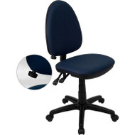 Flash Furniture Mid Back Navy Blue Fabric Multi-Functional Task Chair with Adjustable Lumbar Support - WL-A654MG-NVY-GG