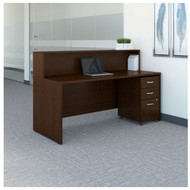 "BBF Bush Series C Reception Desk with 3-Drawer Mobile Pedestal Mocha Cherry 72""W x 30""D - SRC096MRSU"