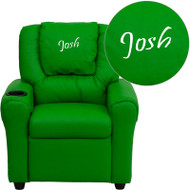 Flash Furniture Kid's Recliner with Cup Holder Green Vinyl  Dreamweaver Embroiderable - DG-ULT-KID-GRN-EMB-GG