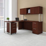 """BBF Bush 400 Series L-Shaped Table Desk 72"""" x 22"""" with 48"""" Return, Hutch and 3-Drawer Pedestal, Harvest Cherry - 400S127CS"""