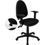 Flash Furniture Mid Back Black Fabric Multi-Functional Task Chair with Arms and Adjustable Lumbar Support - WL-A654MG-BK-A-GG