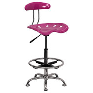 Flash Furniture Vibrant Pink and Chrome Drafting Stool / Bar Stool with Tractor Seat - LF-215-PINK-GG