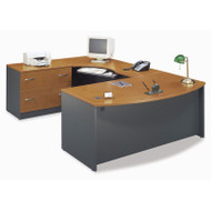 BBF Bush Series C Package Executive U-Shaped Bowfront Desk with Keyboard Tray Natural Cherry - NCPackageE