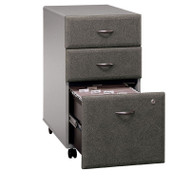 BBF Bush Series A 3-Drawer Mobile File Cabinet in Pewter Assembled - WC14553PSU