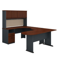 BBF Bush Series A U-Shaped Desk with Hutch, Peninsula and Storage in Hansen Cherry- SRA009HC
