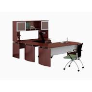 "* MONTHLY SPECIAL! Mayline Medina Laminate Executive 63"" Desk U-Shaped Package Right Mahogany - MNT34-LMH"