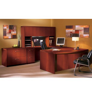 "* MONTHLY SPECIAL! Mayline Aberdeen Executive U-Shaped Desk 66"" w/Wood Door Hutch Package Cherry - AT41-LCR"