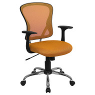 Flash Furniture Mid-Back Orange Mesh Office Chair with Chrome Finished Base - H-8369F-ORG-GG