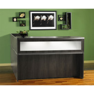 Mayline Aberdeen Reception Desk L-Shaped with one Pedestal File Drawer Gray Steel - ABEPackage2-LGS