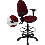 Flash Furniture Mid-Back Fabric Multi-functional Drafting Stool with Arms Burgundy - WL-A654MG-BY-AD-GG