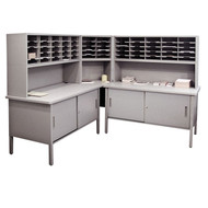 """Marvel 60 Adjustable Slot Literature Organizer with Cabinet Slate Gray 90""""W x 30""""D x 60-68""""H - UTIL0031"""